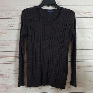 American Eagle Outfitters Purple Zip Knit Sweater